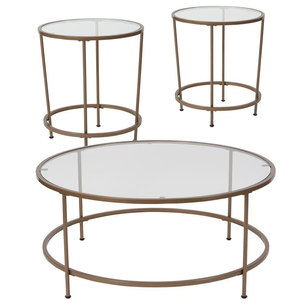 Carnegy Avenue Clear Matte Gold Coffee Table Cga Nan 228367 Cl Hd
