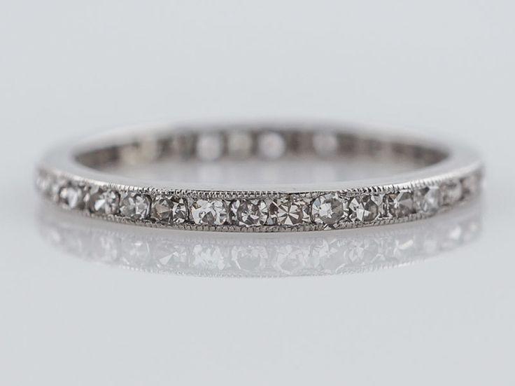 Diamond Wedding Rings Antique Eternity Band Art Deco Single Cut Diamonds In Platinum