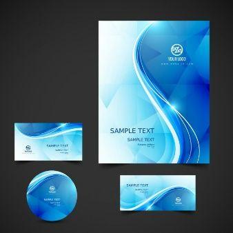 Wellenförmige blaue Geschäftsdrucksachen