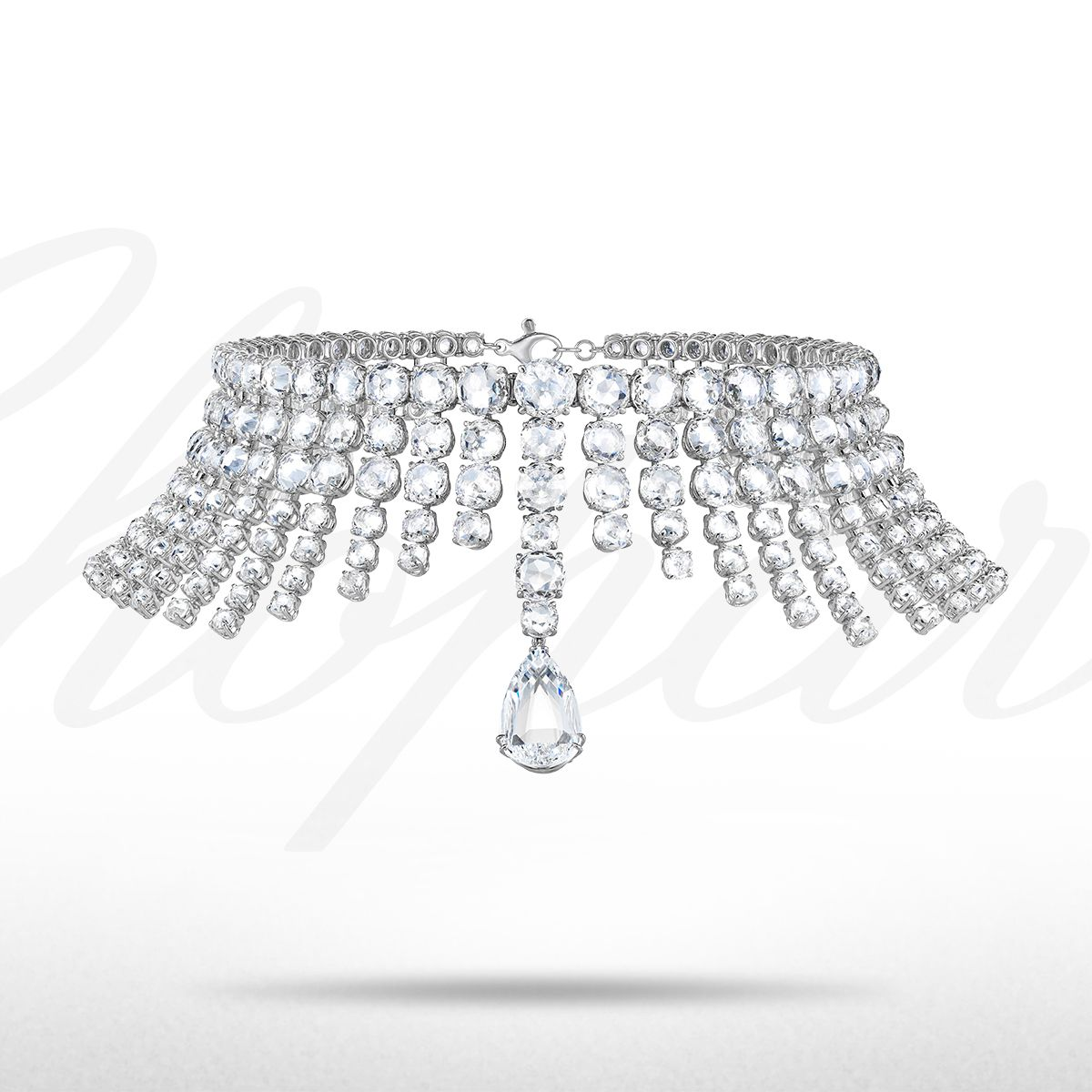 A mesmerizing diamond necklace from the 2013 Red Carpet Collection with a 5-carat pear-cut diamond and 284 rose-cut diamonds totalling almost 183 carats.