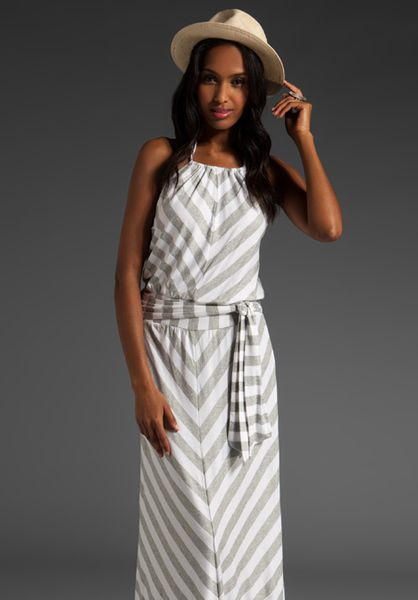 4f88c04eef Stripe Halter Maxi Dress in Heather Grey & White - Lyst | My Style ...