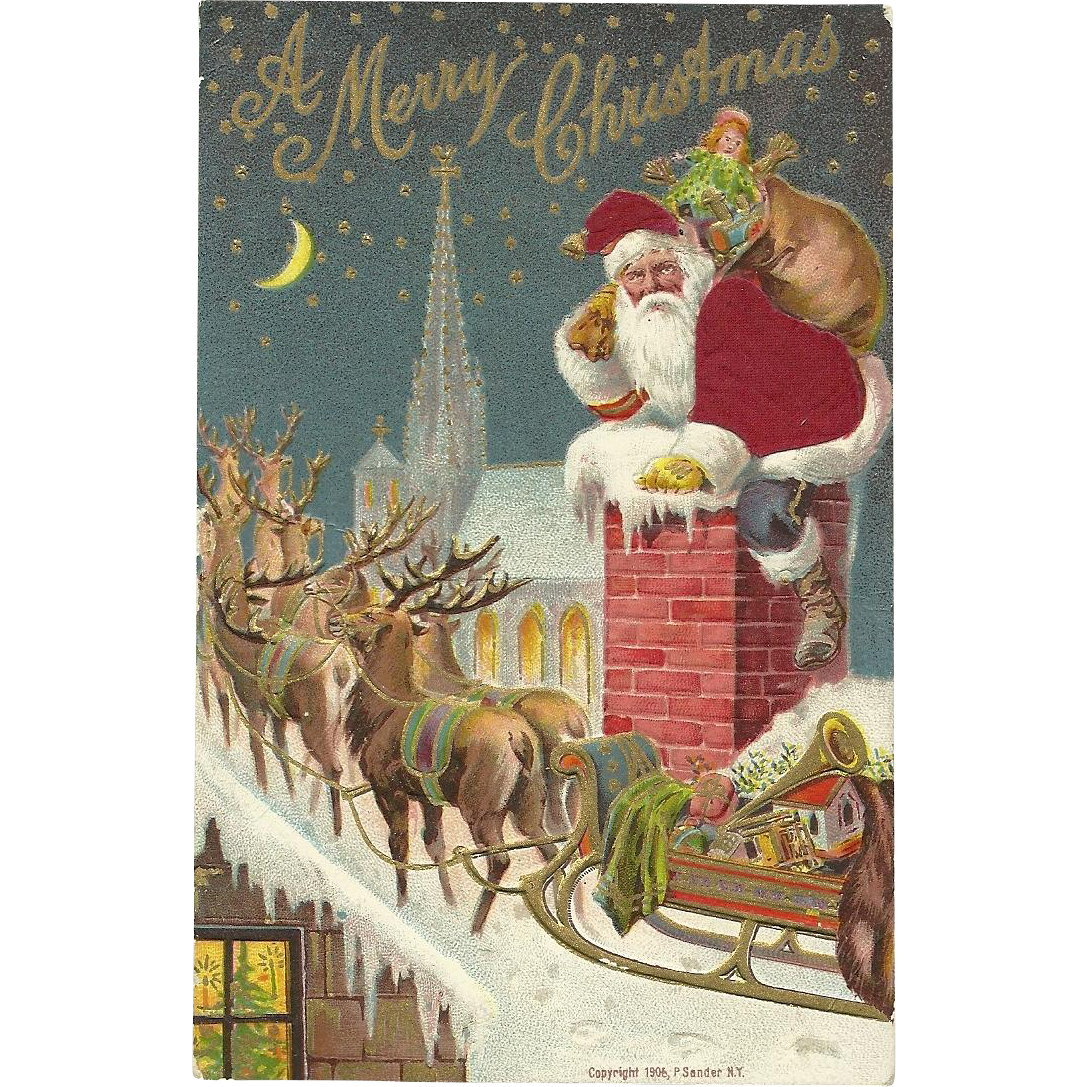 Red Robed Chimney Reindeer Sleigh Roof Top Silk Embossed Postcard This Gorgeous Features Climbing Out Of The