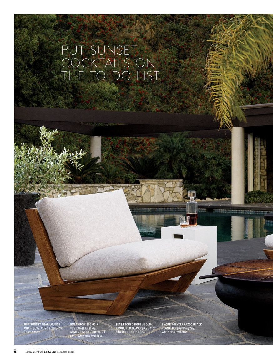 Cb2 may catalog 2018 sunset teak lounge chair teak
