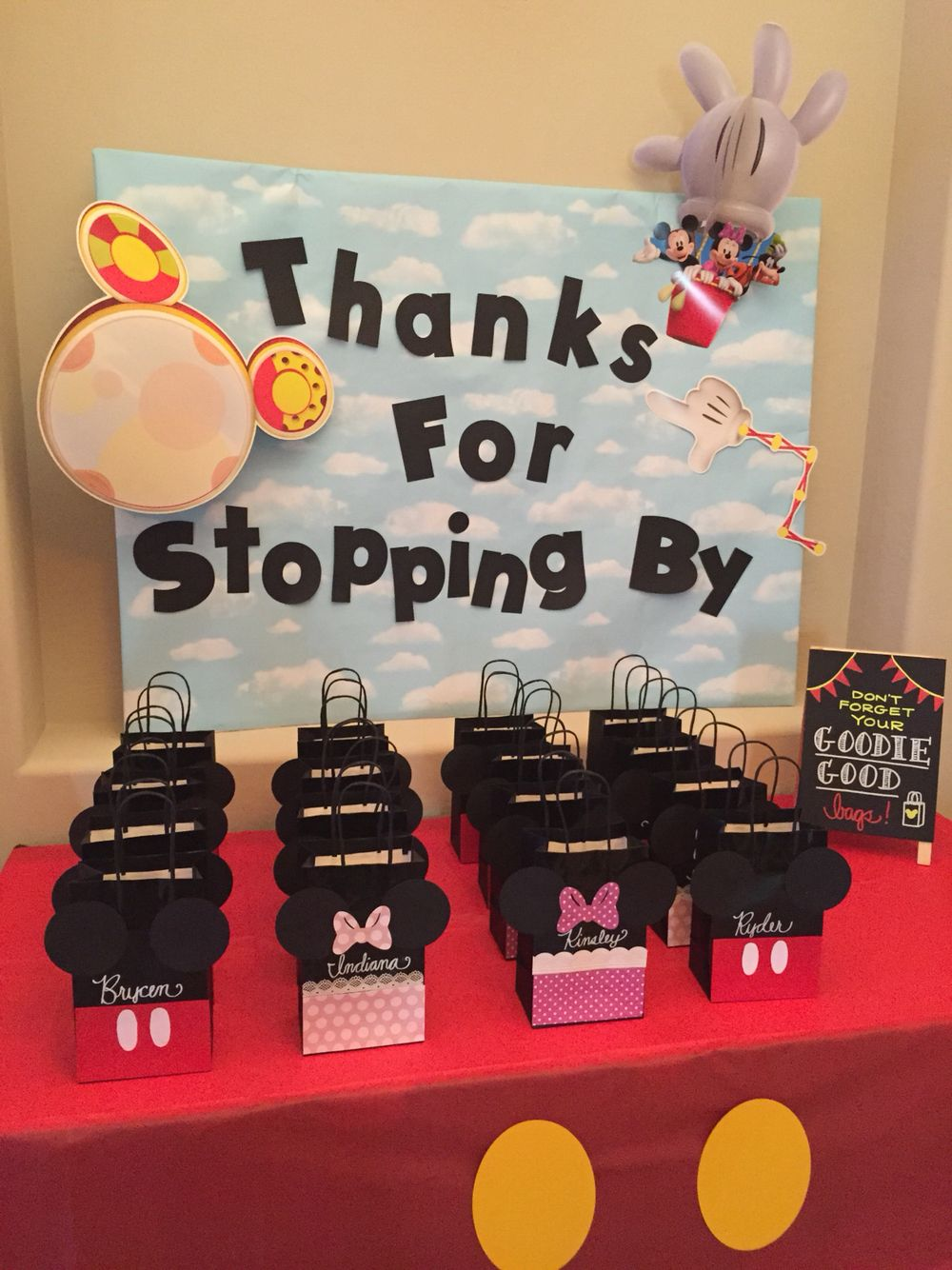Goodie Bag Table For Mickey Mouse Clubhouse Party Minnie Birthday Party Mickey Mouse First Birthday Mickey Mouse Themed Birthday Party