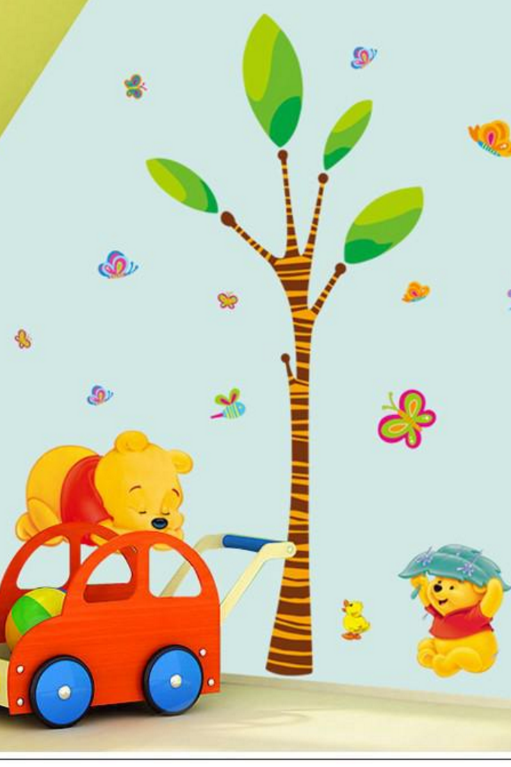 Wall Sticker Decal Winnie The Pooh And Tree Children Bedroom Daycare