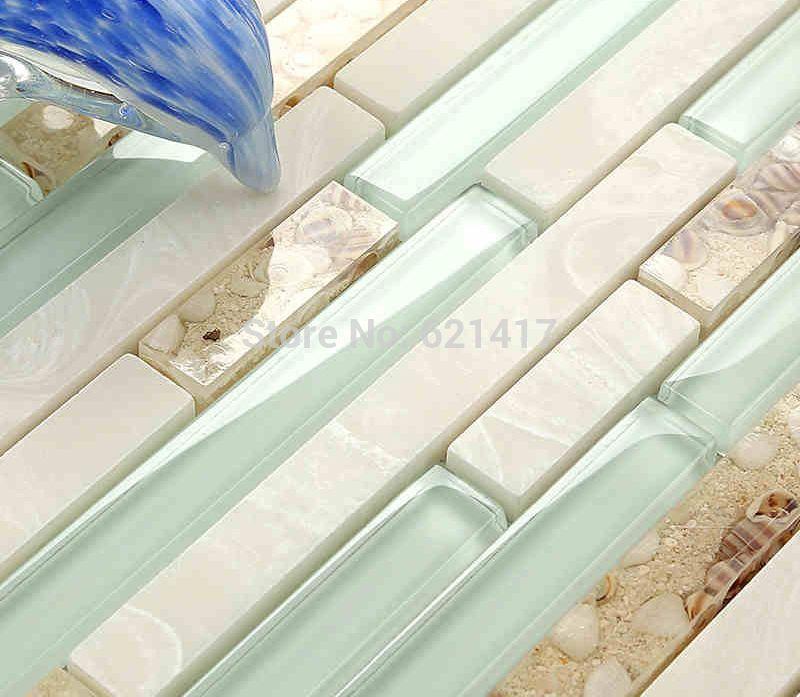 Cheap Luz azul tira de cristal azulejos de mosaico de concha ...