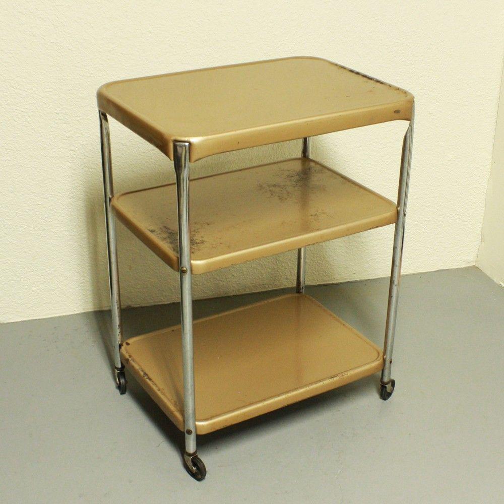 Vintage Metal Cart Serving Cart Kitchen Cart Cosco Gold Bronze Wheels 3 Shelf
