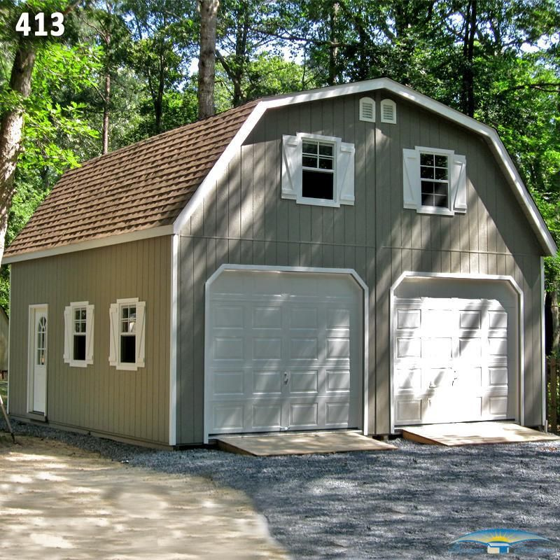 24x24 Two Car Two Story Garage - Gambrel Roof - With Ramps ...