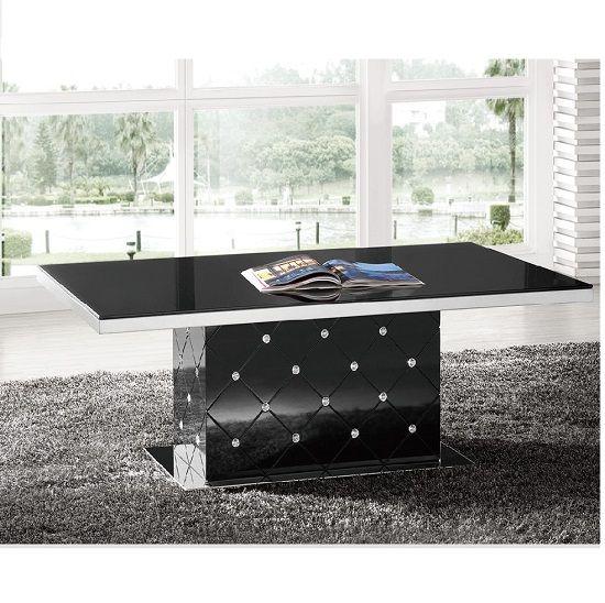 Best Levono High Gloss Coffee Table In Black With Rhinestone 400 x 300