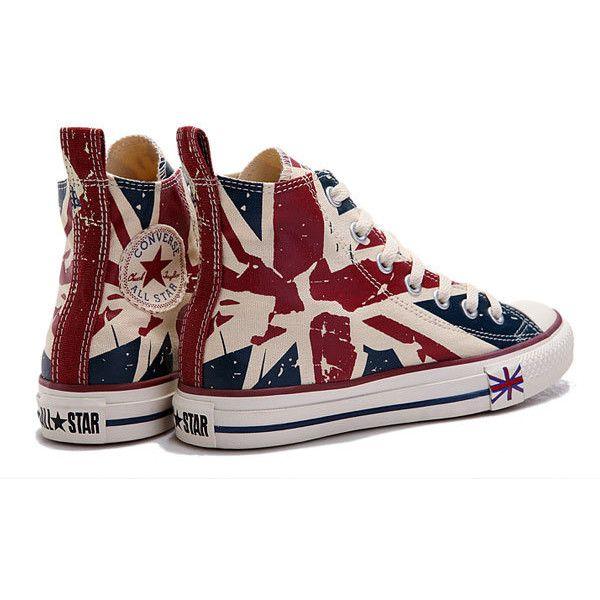 ed9381c44588 Converse UK Flag For London Olympic Beige Red Blue Printed High Tops...  ( 58) ❤ liked on Polyvore featuring shoes