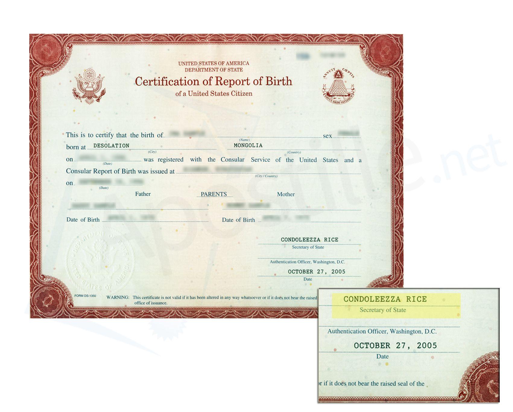 Consular Certificate Of Birth Abroad Signed By Condoleezza Rice