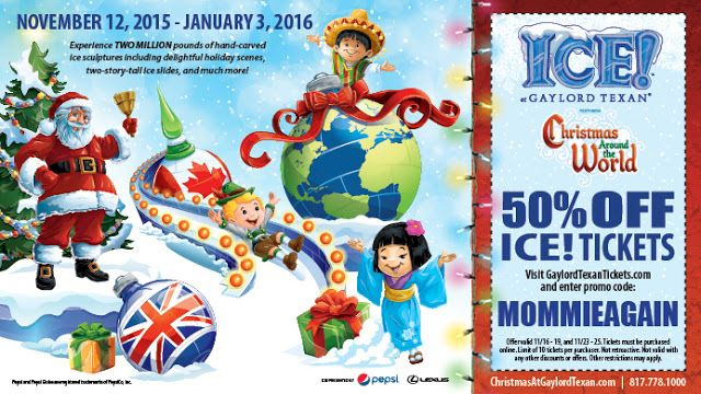 50% Off Coupon for ICE Gaylord Texan for specific dates in November 2015 - Use code MOMMIEAGAIN for discount AD
