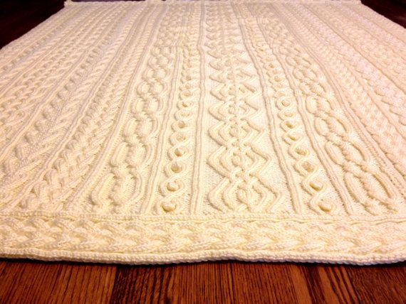 Knitting Pattern Twisty Celtic Aran Afghan Fisherman Cables