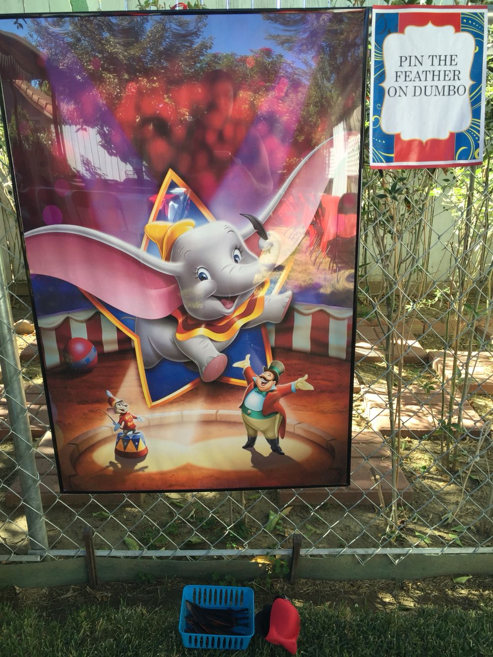 Carnival games. Pin the feather on Dumbo. Dumbo themed carnival birthday party
