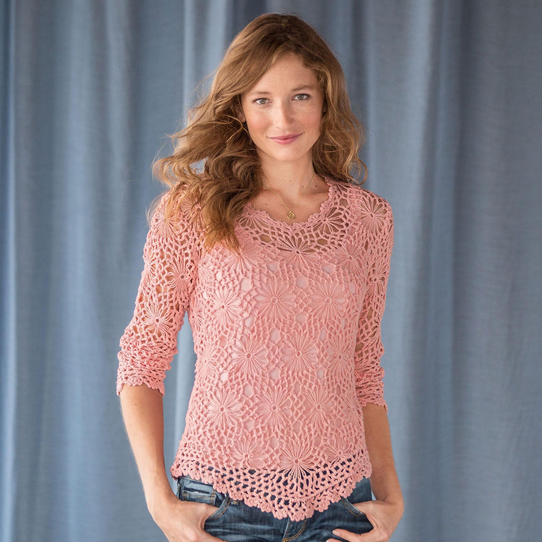 Crocheted Daisy Sweater Crocheted By Hand Into A Lacy Cotton