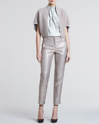 Mohair-Blend Bolero, Pleated-Front Silk Blouse & Metallic Plaid Slim Trousers by Giorgio Armani at Bergdorf Goodman.