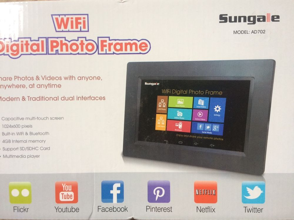 Sungale Ad702 7 Inch Wi Fi Digital Photo Frame Black New In Box