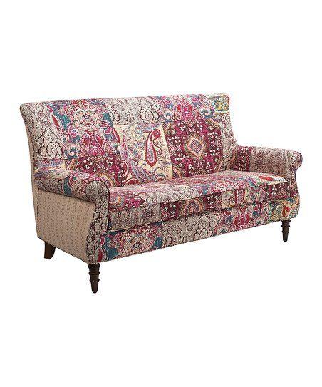 Jennifer Taylor Home Red U0026 Yellow Paisley Sofa Settee   Zulily