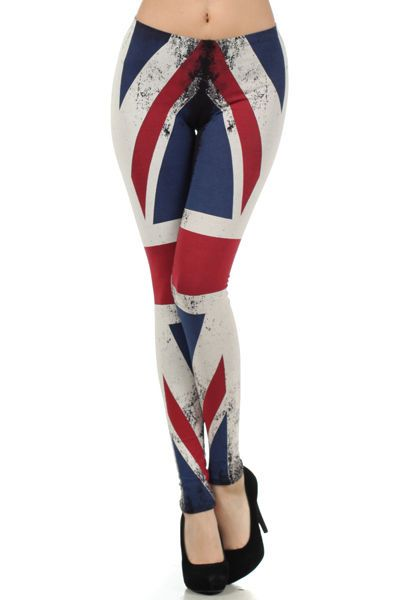 ab524cf3643d0c Union Jack British Flag Red Blue Leggings Pants Cotton Juniors S M L ...