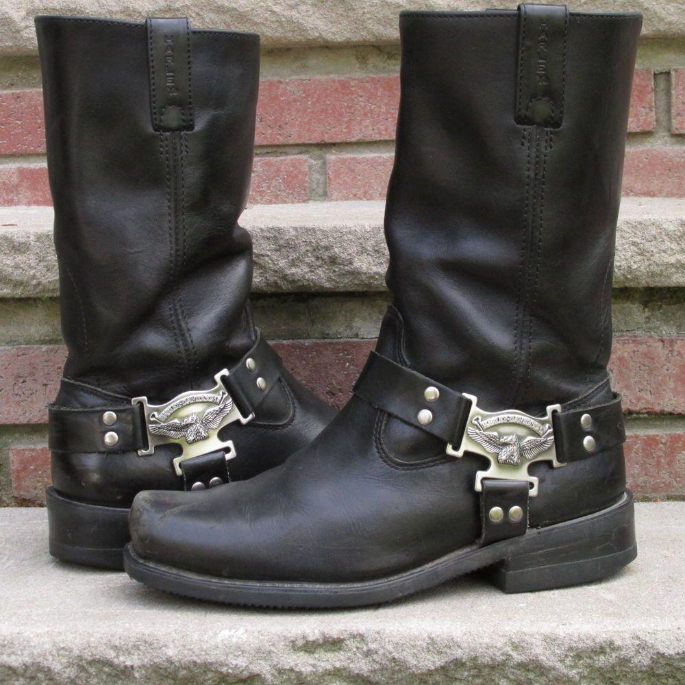 59601bf3286 Men's Harley Davidson Black Leather Harness Biker Motorcycle Boots ...