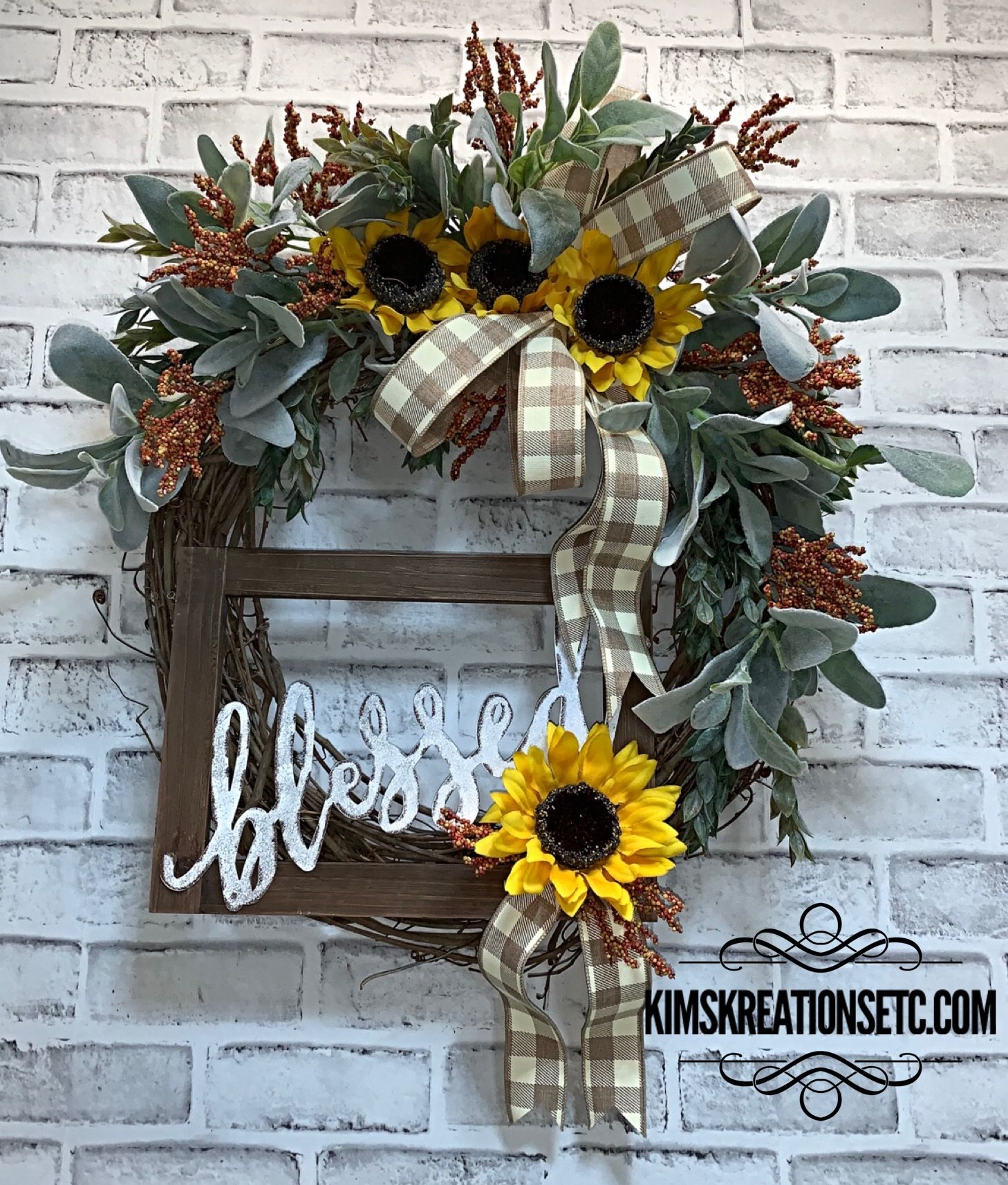 Fall Wreath Free Shipping Blessed Fall Wreath For Front Door Sunflower Wreath Sunflowers Lambs Ear Door Wreath Front Door Wreath Fall Berries Fall Gr In 2020 Fall Grapevine Wreaths Wreaths For