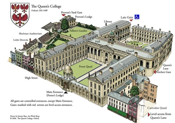 Pin by ira johnson on queens college Oxford | Queen's college ... Queens College Map on
