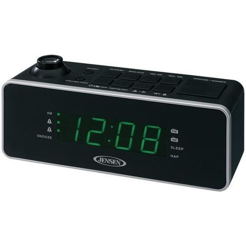 Jensen JCR-208A AM//FM Alarm Clock Radio Green LED Display with *Two Day Shipping