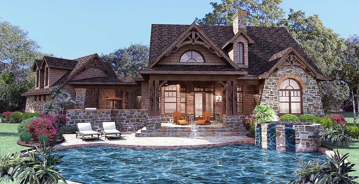 Plan 16807WG: Stone Cottage with Flexible Garage   Stone cottages ...