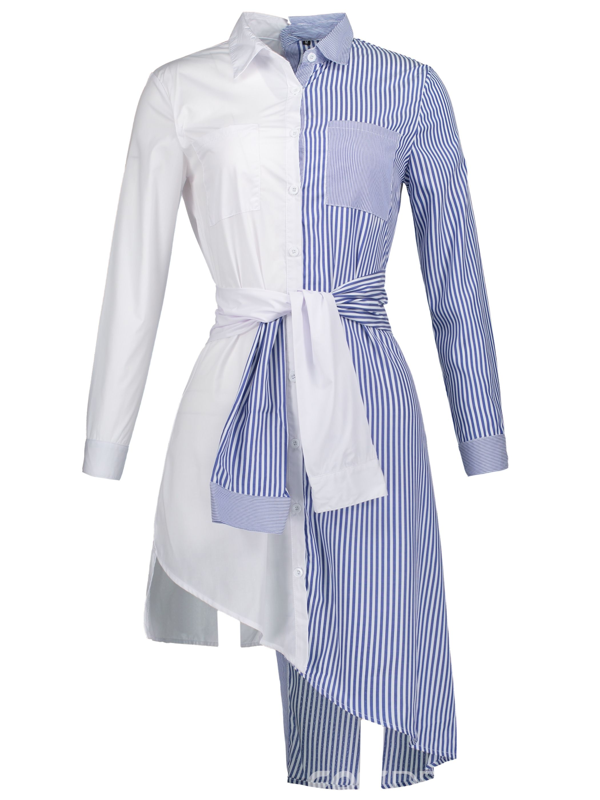 Ericdress Stripe Mid-Length Patchwork Shirt | Ladies Tops in 2019 ...