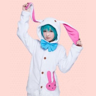 Vocaloid Miku Hatsune Rabbit Ear pajamas Hoodie Sweatshirt Pants Cosplay Costume