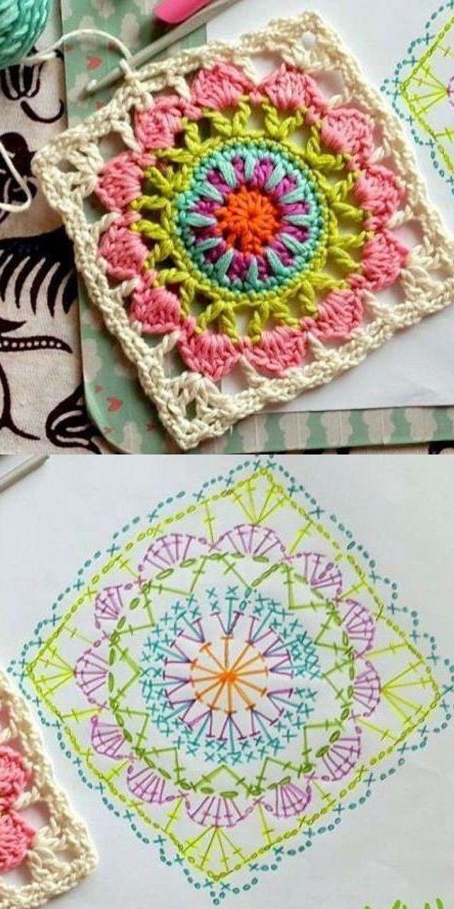 Cuadrado de ganchillo con esquema | crochet | Pinterest | Cuadrados ...