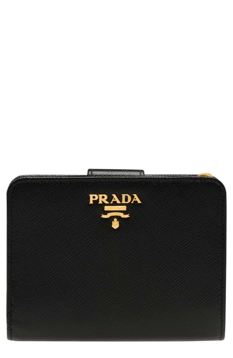 fbba93894a70f4 Free shipping and returns on Prada Small Saffiano Tab Wallet at Nordstrom.com.  Goldtone