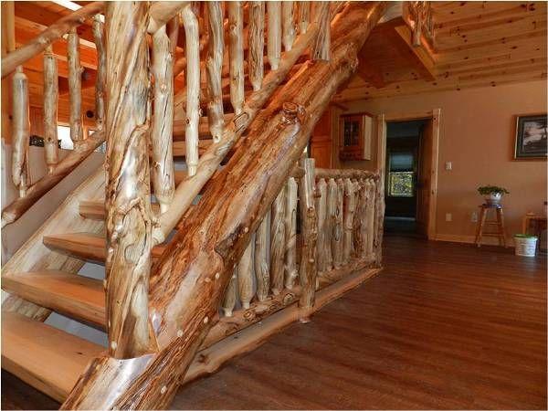 Escalera troncos madera pinterest escalera casas for Escaleras de madera rusticas