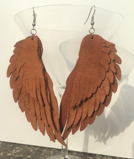 NEW Beautiful Genuine Leather, three layered «Angel wings» Earrings / Front – suede side/ Handmade A