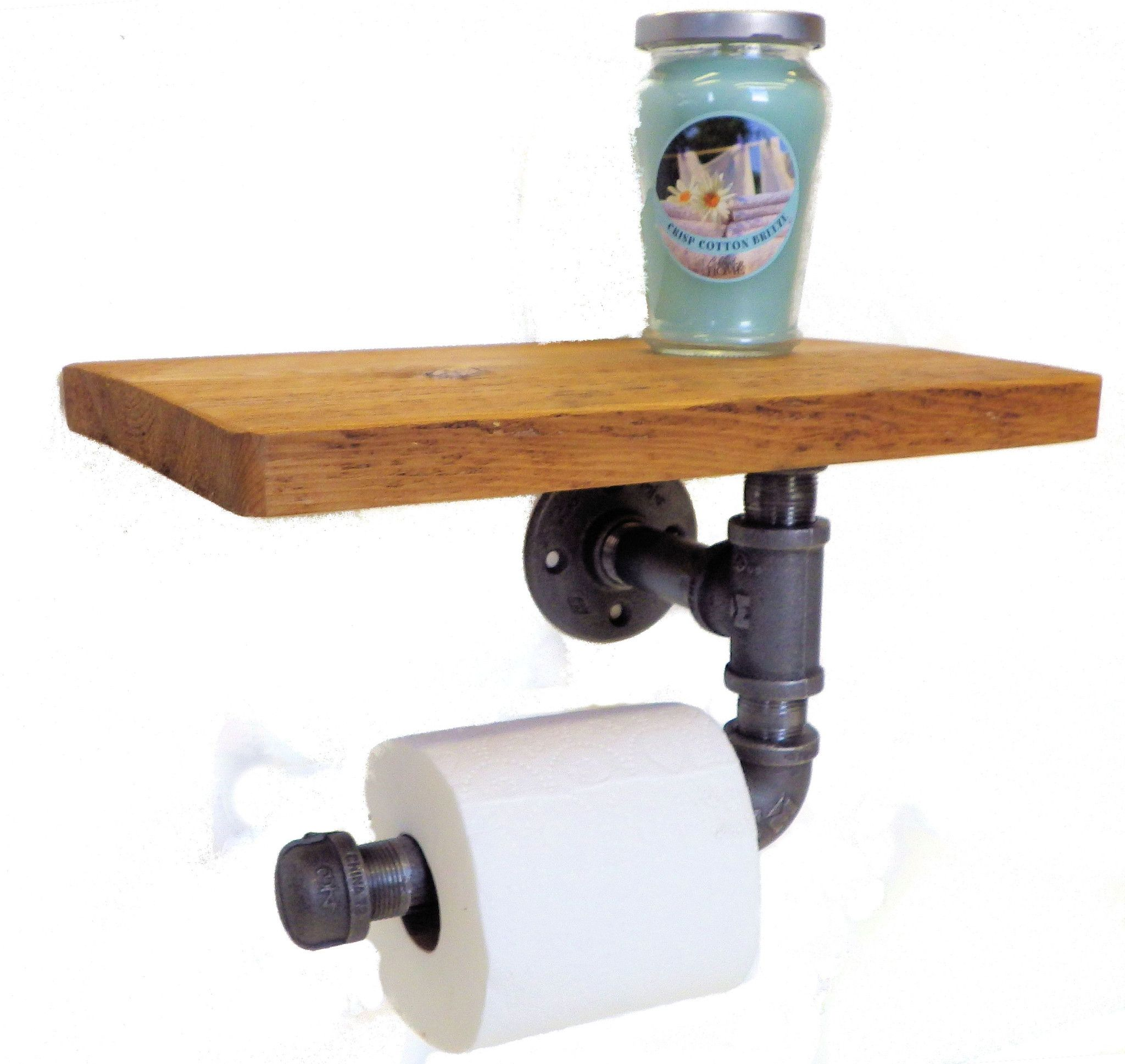 Reclaimed Toilet Paper Holder With Shelf Industrial