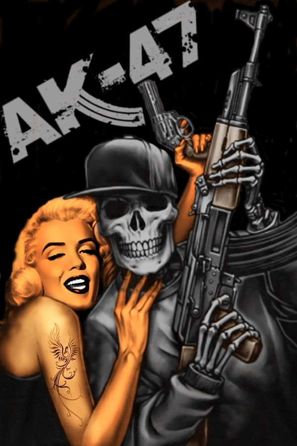 Ak47 Tattoo Gangsta Girl Brown Pride Ak 47 Chicano Art Santa