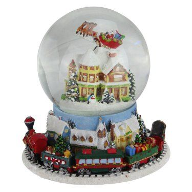 Northlight Musical Revolving House with Santa and Train Christmas
