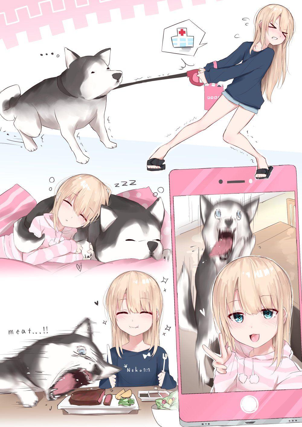Girl And Her Dog Original Anime Memes Funny Anime Funny Anime