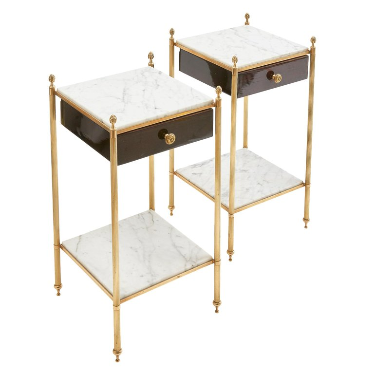 Pair Of 1stdibs Side Tables Brass Mounted Two Tier Top Circa 1960 French Marble Marble Top Side Table Side Table Vintage Side Table