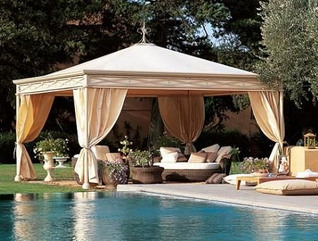 Relaxing gazebo with curtain