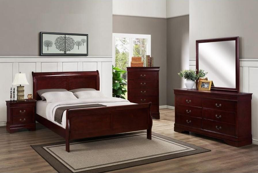 Wood Furniture Solid Wood Modern Bedroom Dark Furniture With