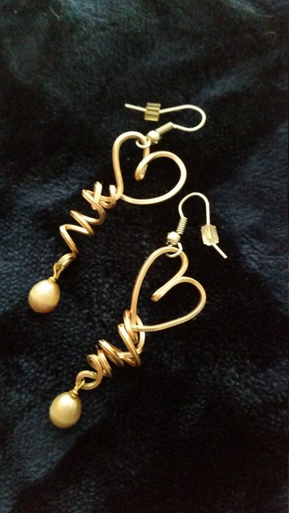 Hearts and Pearls wire earrings