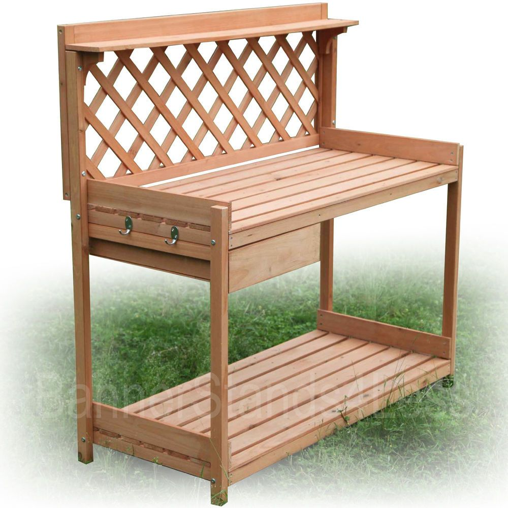 Charming Wood Planter Potting Bench Outdoor Garden Planting Work Station Table Stand