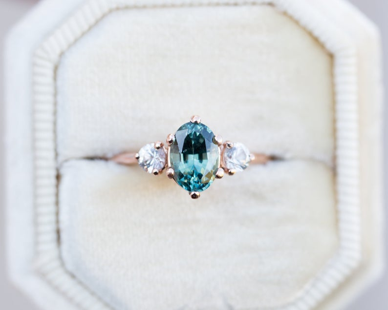 Oval teal sapphire engagement ring sapphire three stone