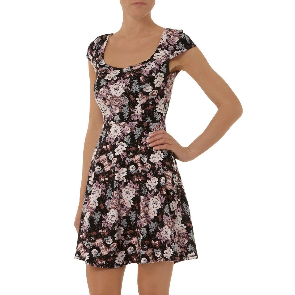 Dorothy Perkins Floral Print Sweetheart Dress- At