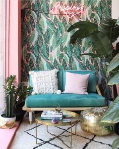 The Jungalow featuring 'Nana' wallpaper in pink by Justina Blakeney for Hygge & West