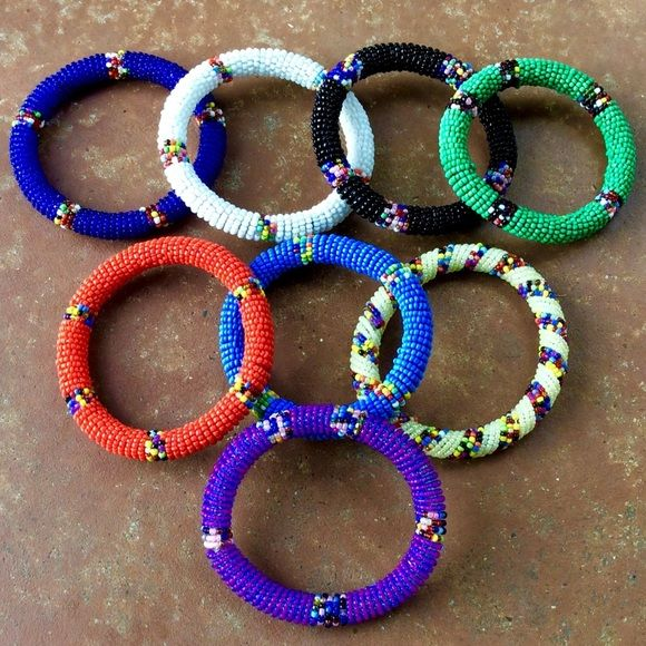 acc1dff4ab7 Handmade Maasai Beaded Bangles Pick your Colors!-3 Just in time for Spring!