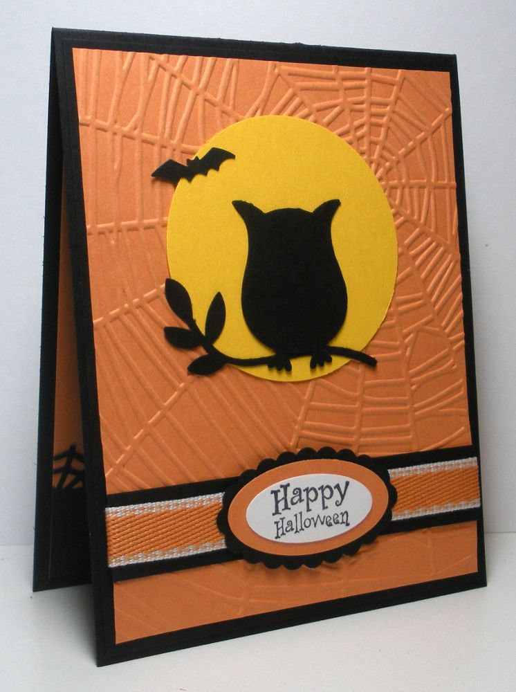Halloween Cards Made With Owl Embossing Folder Google Search Halloween Cards Diy Halloween Cards Handmade Thanksgiving Cards Handmade