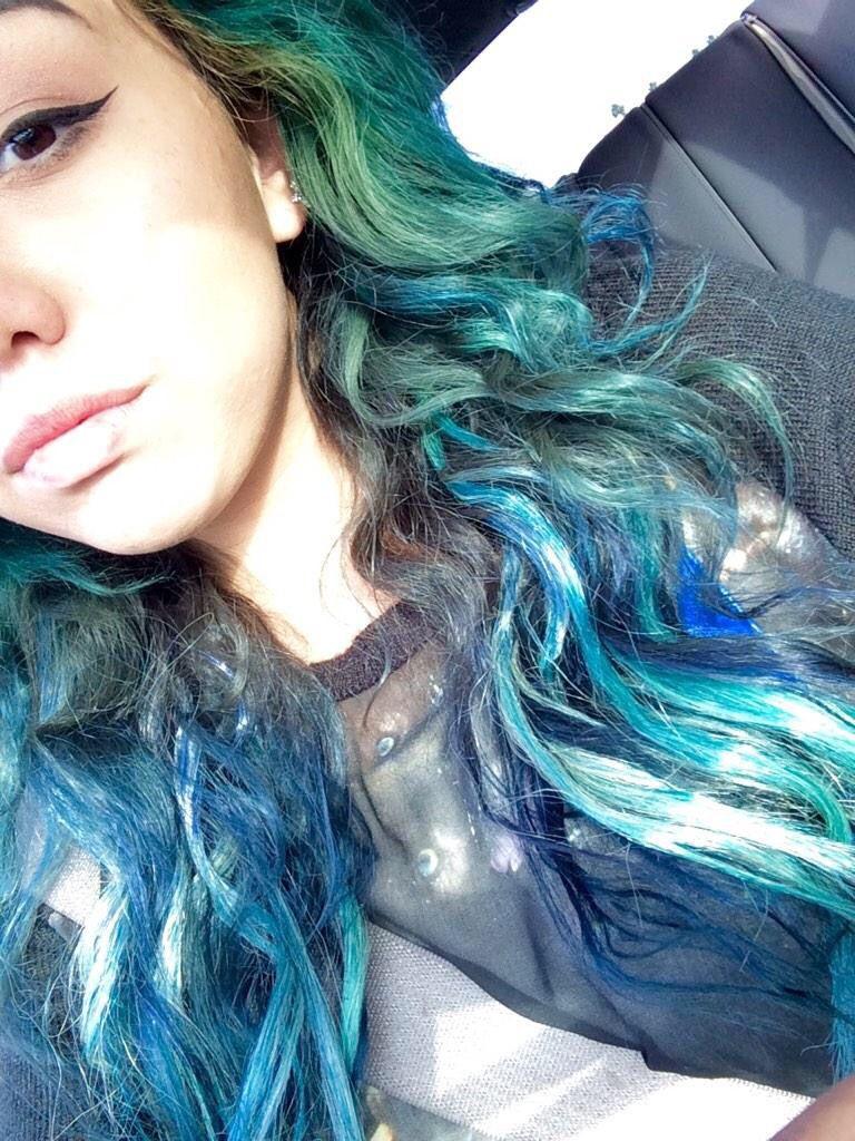 old blue green teal ombré hair