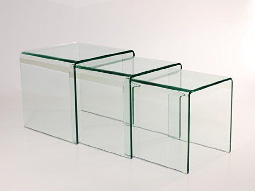 Milan bent glass nest of 3 clear side tables by abode interiors milan bent glass nest of 3 clear side tables by abode interiors watchthetrailerfo